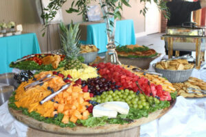 Fruit and cheese tray at an event