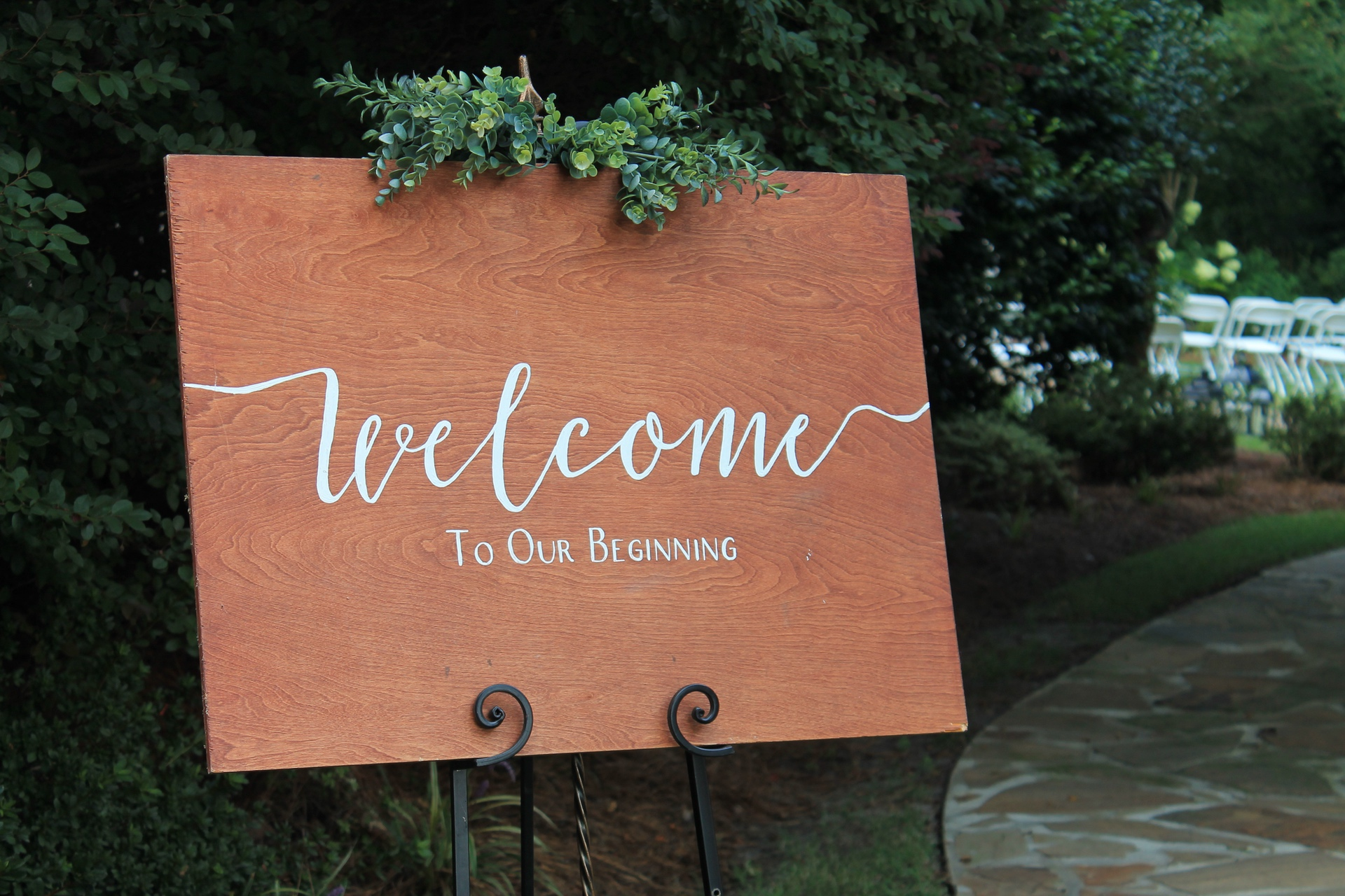 The Hall Wedding Garden welcome sign
